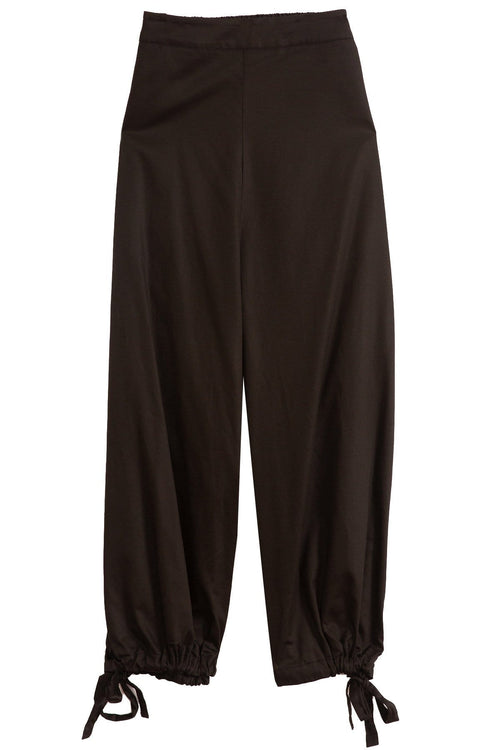 Cotton Ribbon Hem Pant in Black