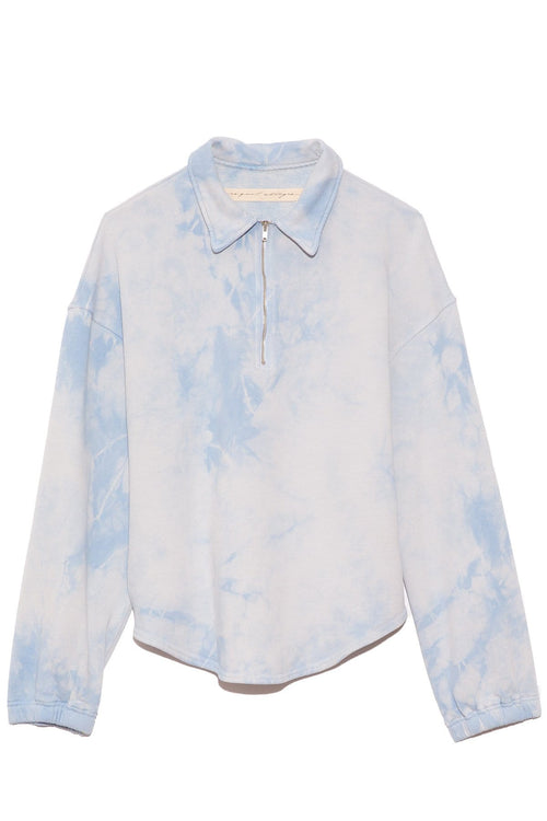Zip Collar Sweatshirt in Cloud Washed Blue