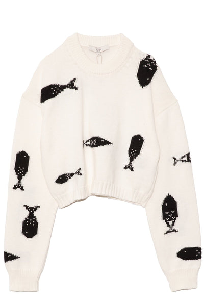 Poisson Intarsia Cropped Crewneck Pullover in Ivory/Black Multi