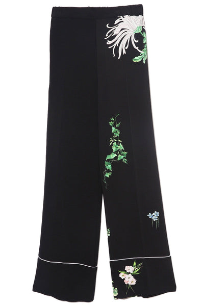 Cuffed Flower Pant in Stampa Fondo Nero