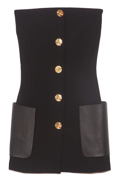 Stretch Suiting Top With Leather Pockets in Black