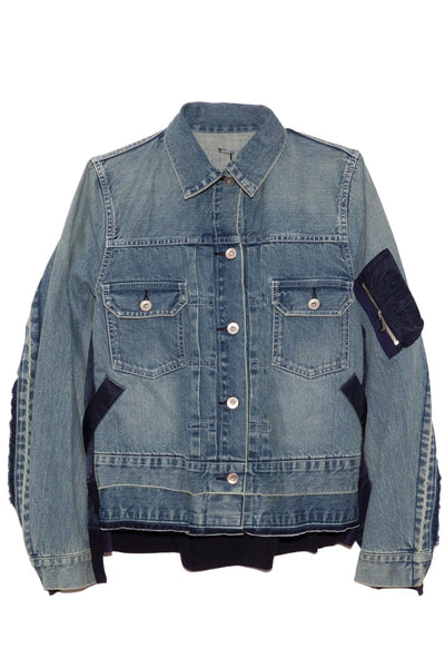 Denim x MA-1 Jacket in Light Blue