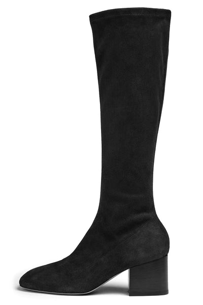 Sock Leg Suede Boot in Black