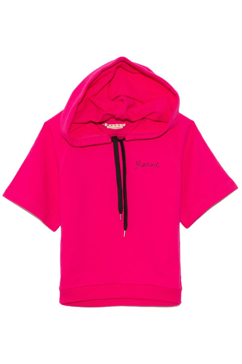 Hooded Short Sleeve Sweatshirt in Raspberry