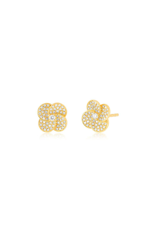 Diamond Jumbo Petal Stud Earring in Yellow Gold