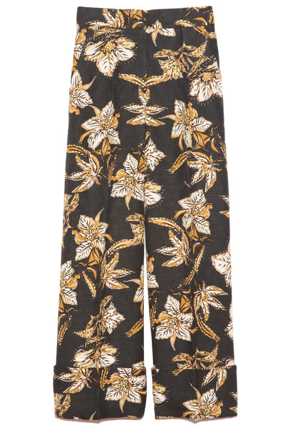 Structured Florals Pants in Black/Green