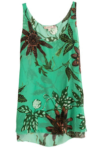 Floral Transparencies Top in Green Passiflora TS