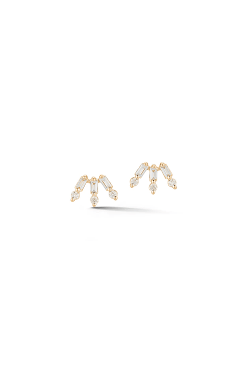 Sadie Pearl Baguette and Round Fan Studs in Yellow Gold