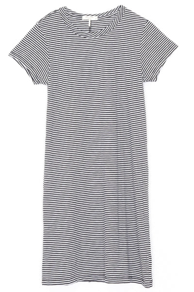 Striped Tee Dress in Black/White