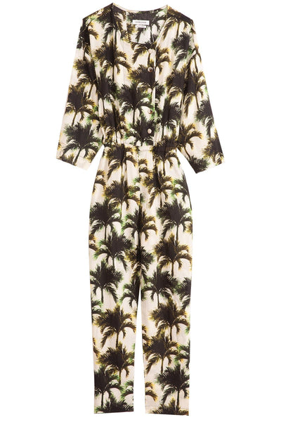 Pacific Jumpsuit in Neon Palms White