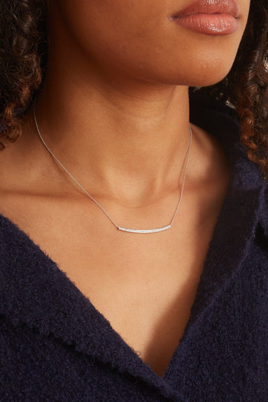 Sylvie Rose Long Bar Necklace in White Gold