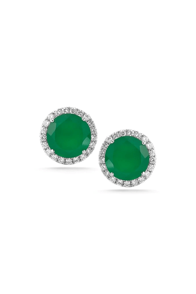 Anna Beth Green Onyx Gemstone Halo Studs in White Gold