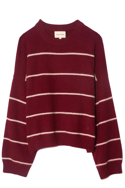 Galli Oversize Sweater in Stone/Bordeaux Stripe