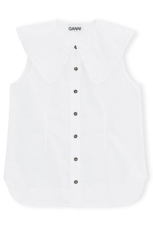 Cotton Poplin Sleeveless Top in Bright White
