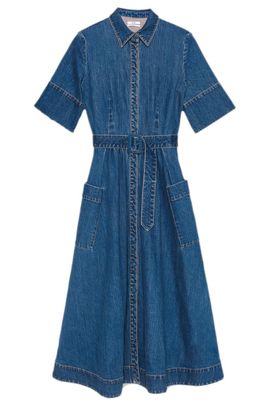Denim Belted Shirt Dress in Indigo