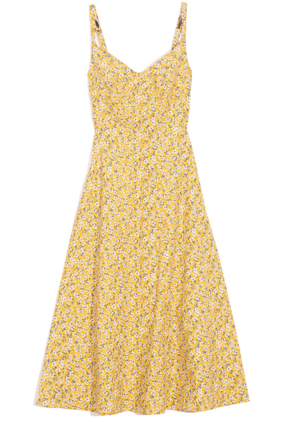 Corset Midi Dress in Yellow Floral