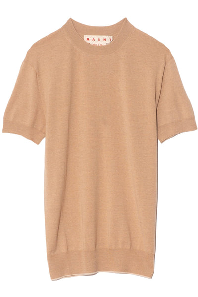 Short Sleeve Sweater in Tan