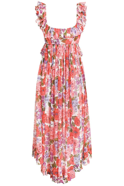 Poppy Frill Edge Midi Dress in Coral Multi Floral
