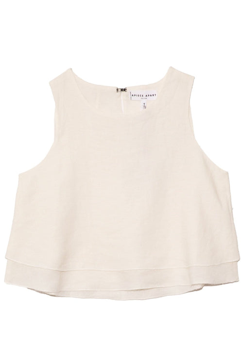 Agnes Linen Top in Cream