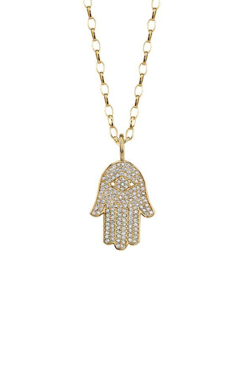Large Pave Hamsa Necklace in Yellow Gold