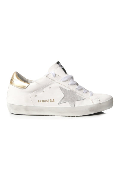 Superstar Sneakers in White Leather/Washed Gold