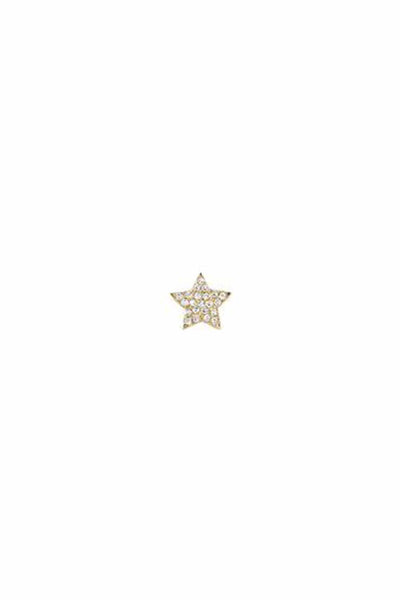 Diamond Single Star Stud Earring in Yellow Gold