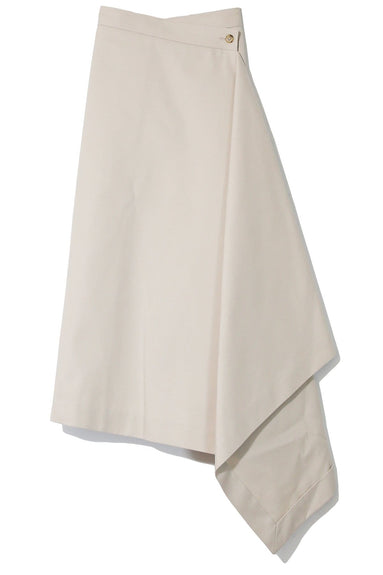 Asymmetrical Wrap Skirt in Light Beige