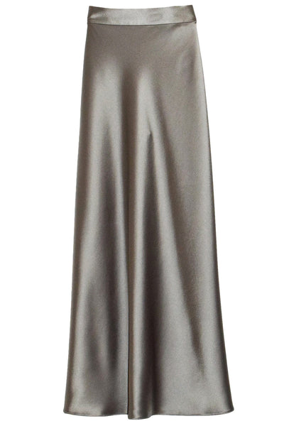 Bias Slip Skirt in Grey Crepe Satin