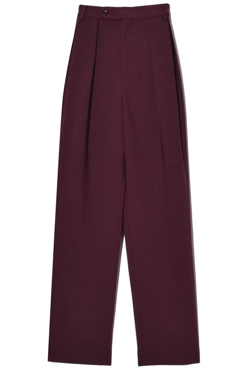 Double Pleated Pants in Burgundy Bonded Wool