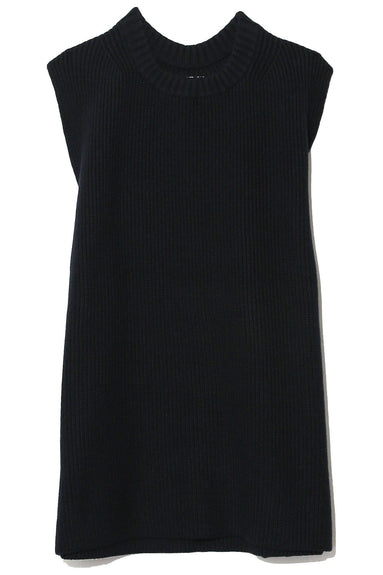 Knitted Sleeveless Shell in Navy
