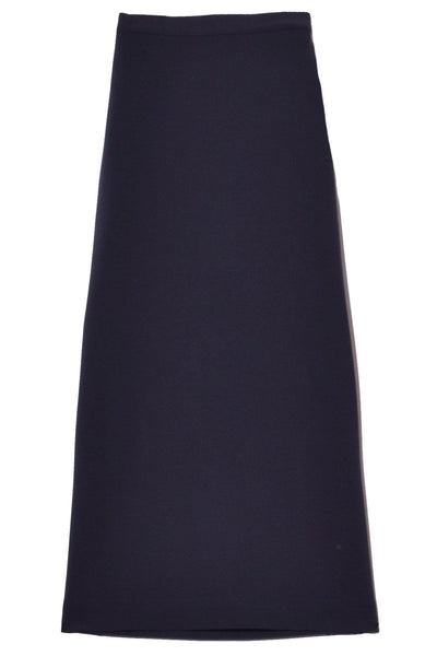 Side Slit Skirt in Navy Bonded Wool