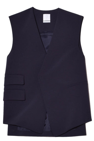 Trapeze Vest in Navy Bonded Wool