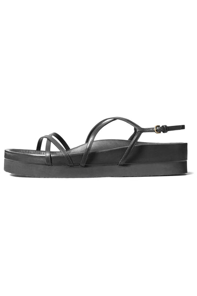 Strappy Flat Sandal in Black