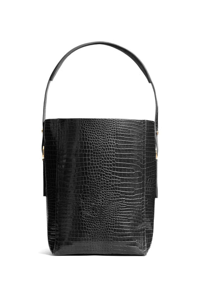 Soft Bucket Bag in Black Croco