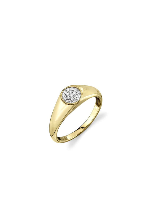 Mini Round Pave Signet Ring in Yellow Gold