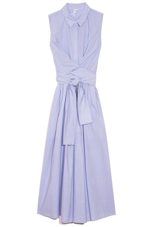 Sleeveless Wrap Dress in Light Blue