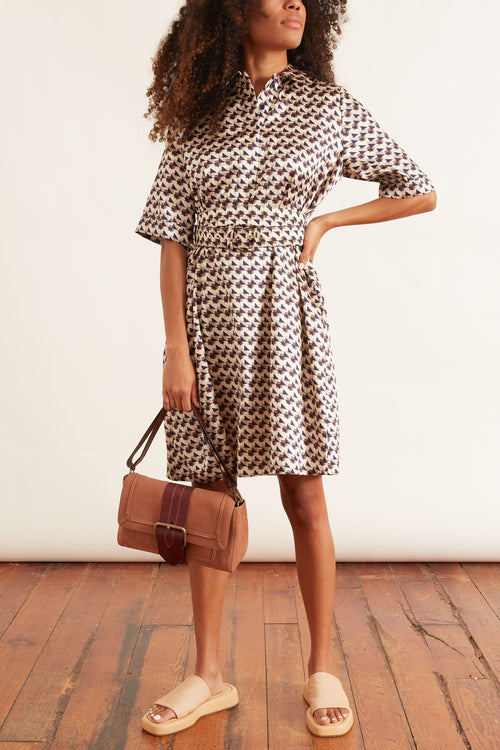 Belted Dress in Printed Navy