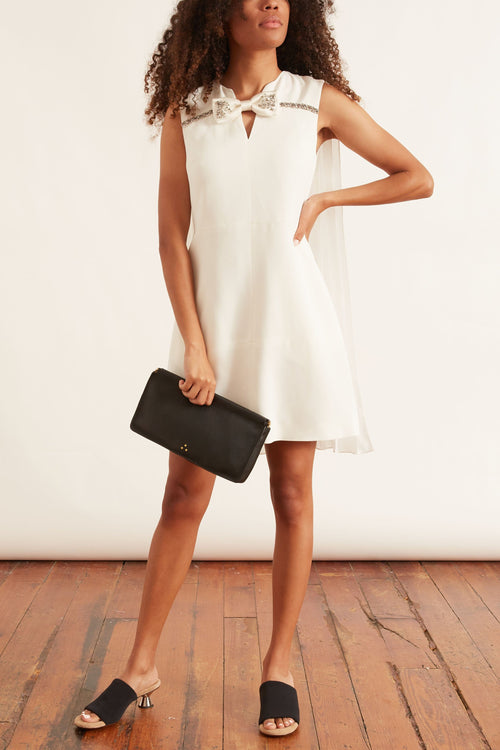 Dress with Bow Detail in Off White