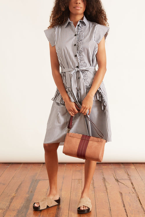Ruffle Shirt Dress in Indigo Stripe
