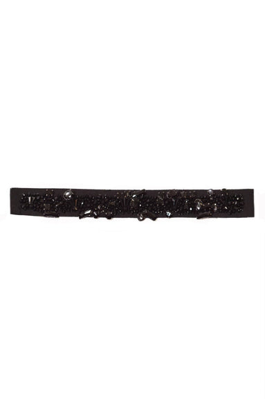 Crystal Embellished Belt in Black