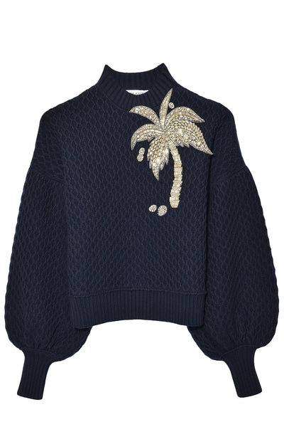 Crystal Palm Tree Sweater in Navy