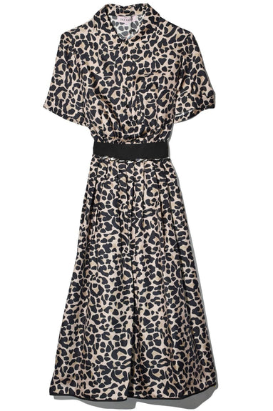 Leopard Collared Dress in Beige
