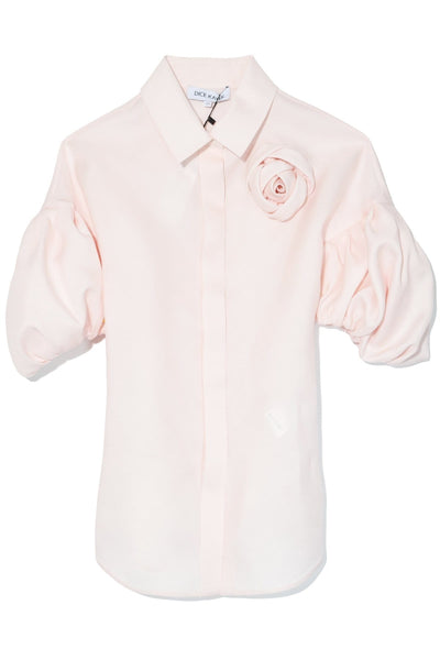 Puff Sleeve Rosette Shirt in Pink
