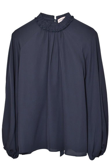 Ruffle Neck Tie Back Shirt in Navy