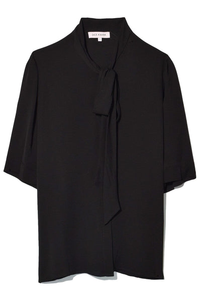 Tie Neck Short Sleeve Shirt in Black