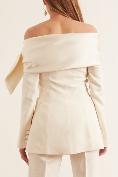 Boat Neck Jacket in Off White