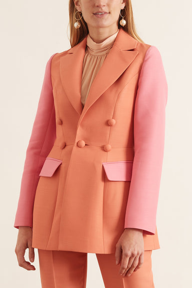 Colorblock Jacket in Peach