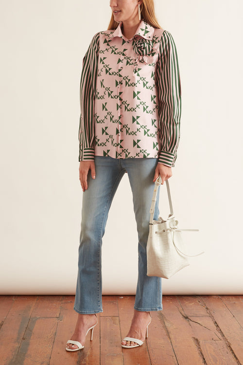 Monogram Striped Silk Shirt in Emerald Monogram