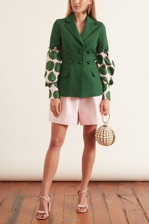 Puff Sleeve Combo Jacket in Emerald