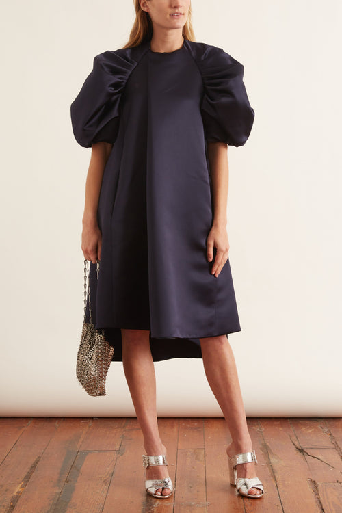 Puff Sleeve Dress in Navy